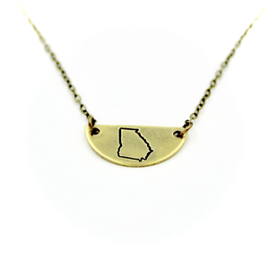 'GA' Mini Half Moon Necklace