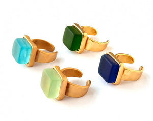 Cube Ring, Gold Tone