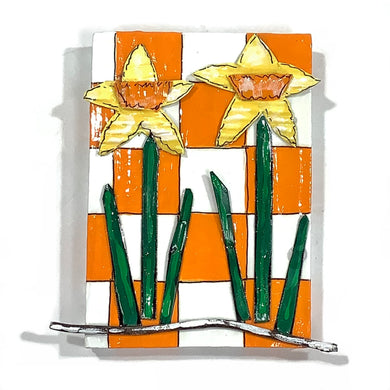 Daffodils on Orange and White