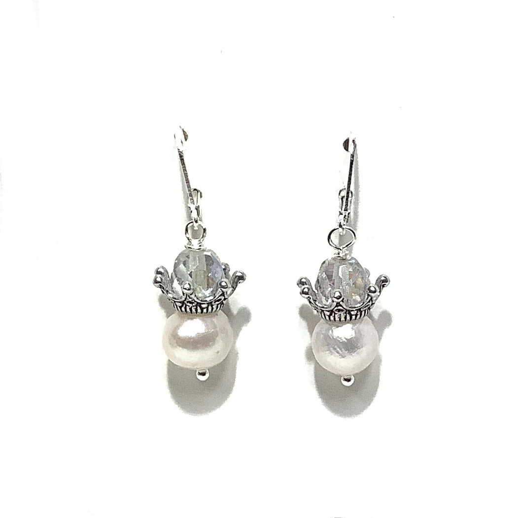 Earrings - Czech Glass and Fresh Water Pearl Beads on Sterling Silver wire