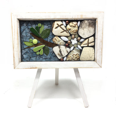 Mosaic White Floral on Easel