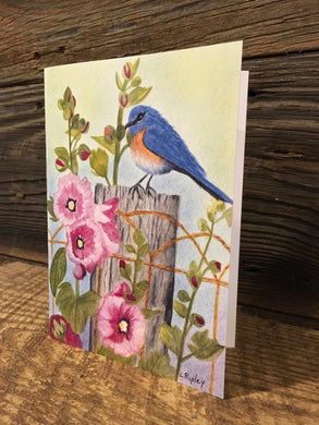 Bluebird & Hollihocks Watercolor Card