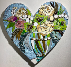 Green and Brown Floral Heart Mosaic