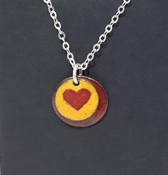 Yellow and Red Enamel 2 Layered Heart Charm Pendant