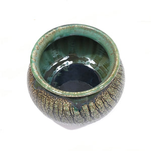 Bowl - brown & green, crackle