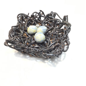 Large Nest with 3 Blue Eggs