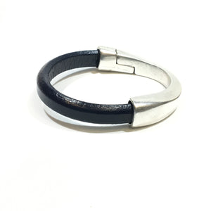 Blue Leather Sterling Silver Half Clasp Bracelet