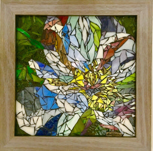 Abstract White Flower in Frame Mosaic