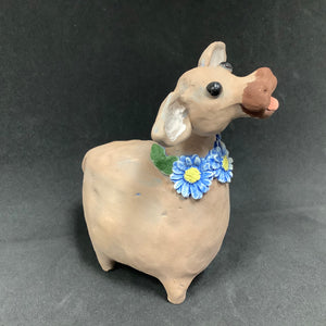Ceramic Brown Cow with Daisies