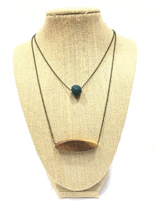Double Layer Diffuser Necklace - Wood & Lava