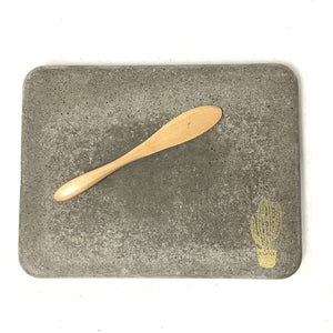 Dark Rectangle Cheeseboard with Gold Cactus