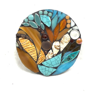 Turquoise and Brown Round Mosaic
