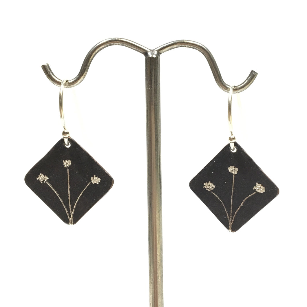 Oxidized Sterling Earrings - Diamond Shaped with 3 Dandelions