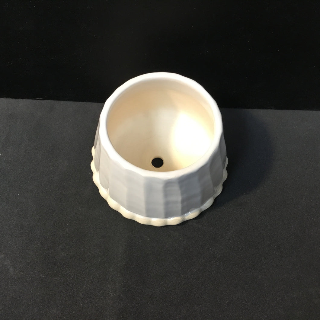 White Angled Ceramic Planter