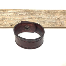 Stamped Burgundy Leather Bracelet