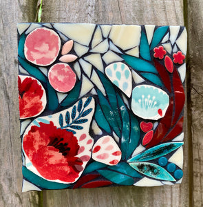 Mini Turquoise and Red Floral Mosaic