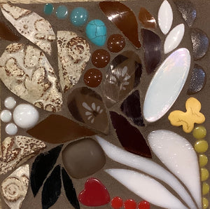 Mini Brown and White Floral Mosaic