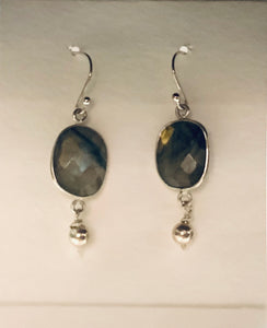 Earrings - Sterling Silver with French Ear Wires with Labradorite and Sterling Beads