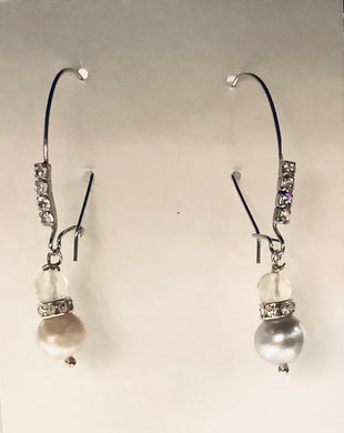 Earrings - Sterling Silver Kidney Bead Ear Wires with Rhinestones and Freshwater Pearls and Vintage Czech Glass Beads