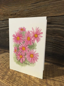 Old Fashioined Mums Watercolor Card