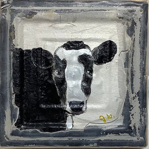 "Clare the Cow on 1800""s Antique Ceiling Tile"
