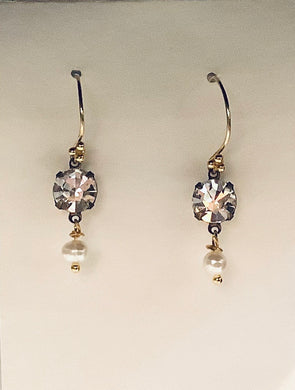 Earrings - French Gold Vermeil Wires with Smoky Crystal and Fresh Water Pearls