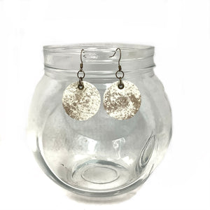 Circular White Leather Earrings