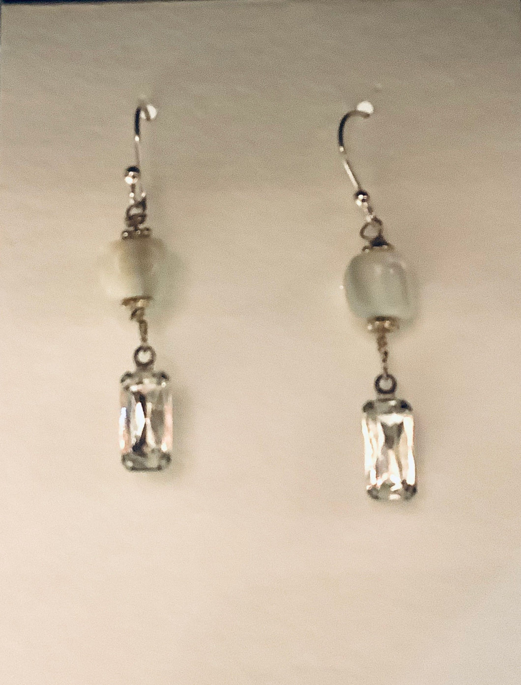 Earrings - Sterling Silver French Wires with Vintage Mother of Pearl Beads and Vintage Crystal