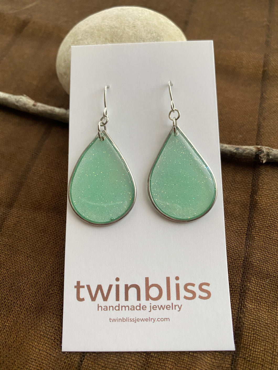Sparkle & Shine Artisan Earrings - Large Silver Drop Spring Green