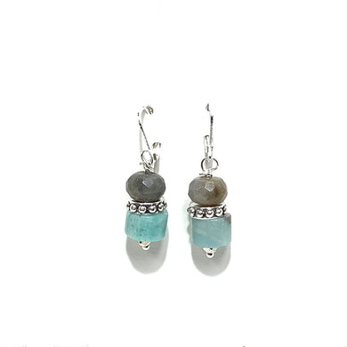 Earrings - Labradorite and Amazonite on sterling wire