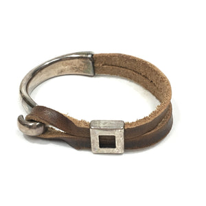 Leather and Sterling Square Hook Bracelet