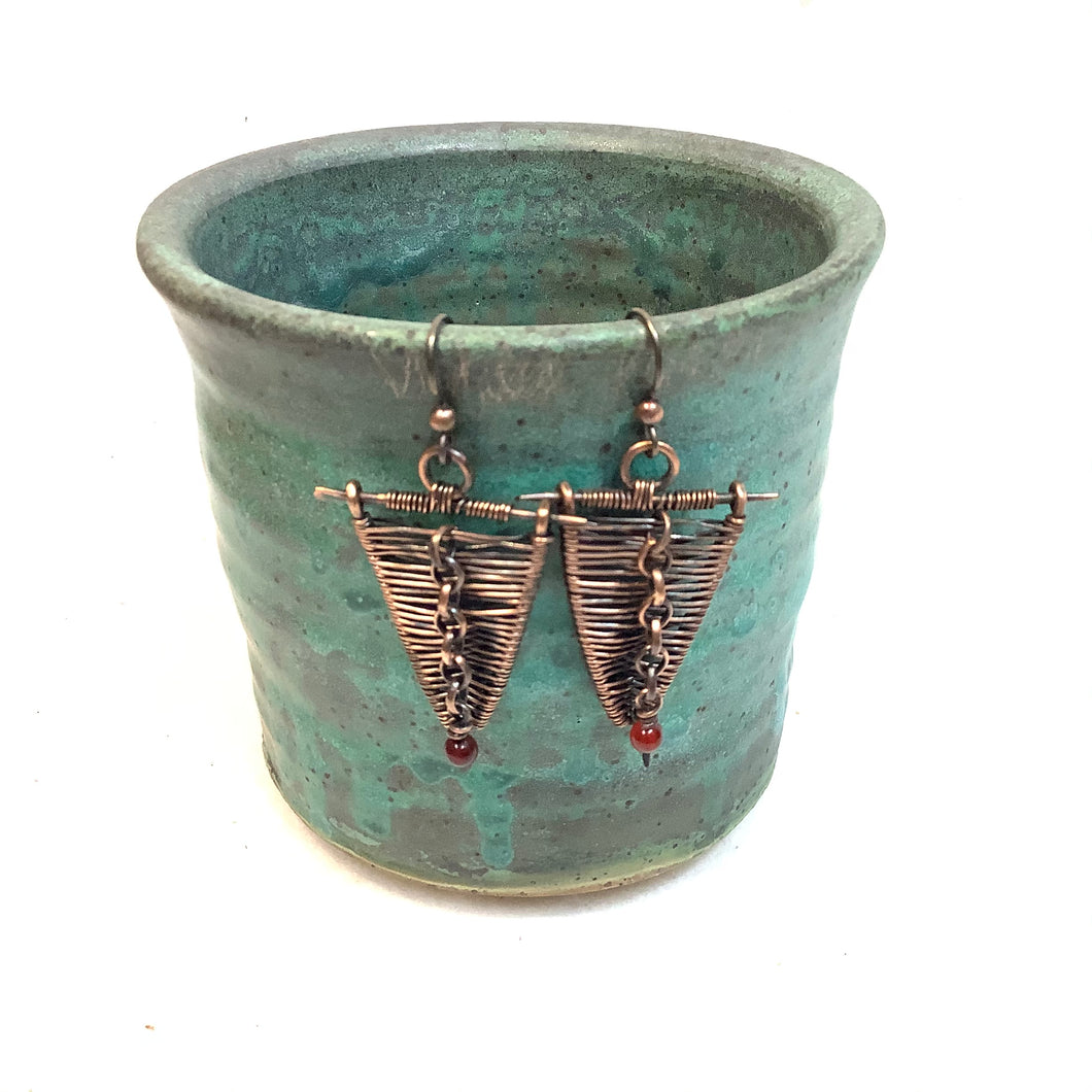Woven Triangles with chain Copper Earrings