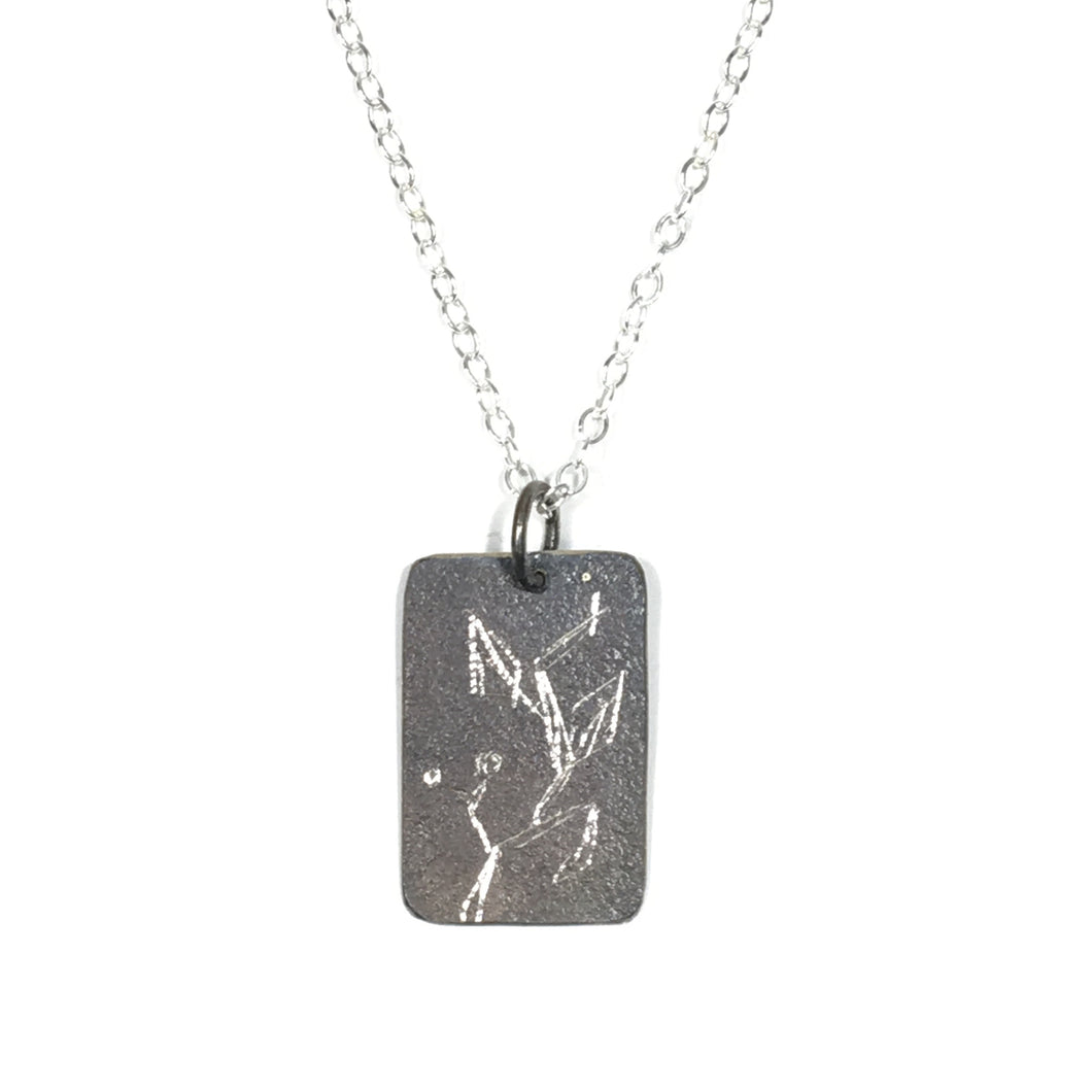 Oxidized Sterling Pendant - Vine