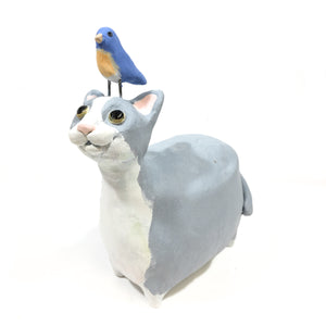 Gray & White Cat with Bird