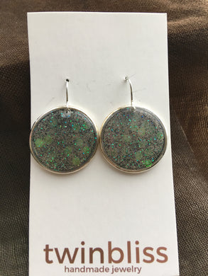 Sparkle & Shine Artisan Earrings - Large Circle - Black