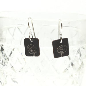 Oxidized Sterling Earrings - Spiral Rose