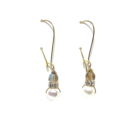 Earrings - Crystal and Pearls Beads on Gold Vermeil wire