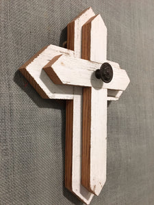 Small Wood Cross - white with cabinet knob