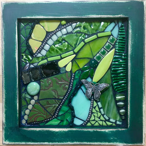 Green Abstract with Butterfly Mosaic