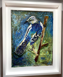 Mountain Blue Bird Framed Mosaic