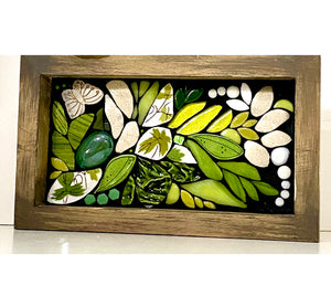 Green Flowing Floral with Butterfly Mosaic