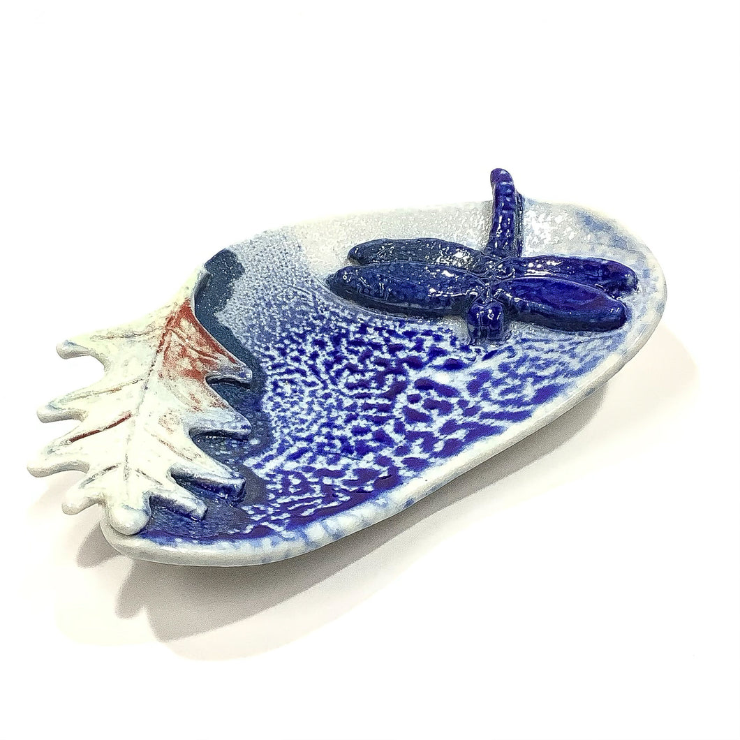 Dish - Dragonfly, White and Blue