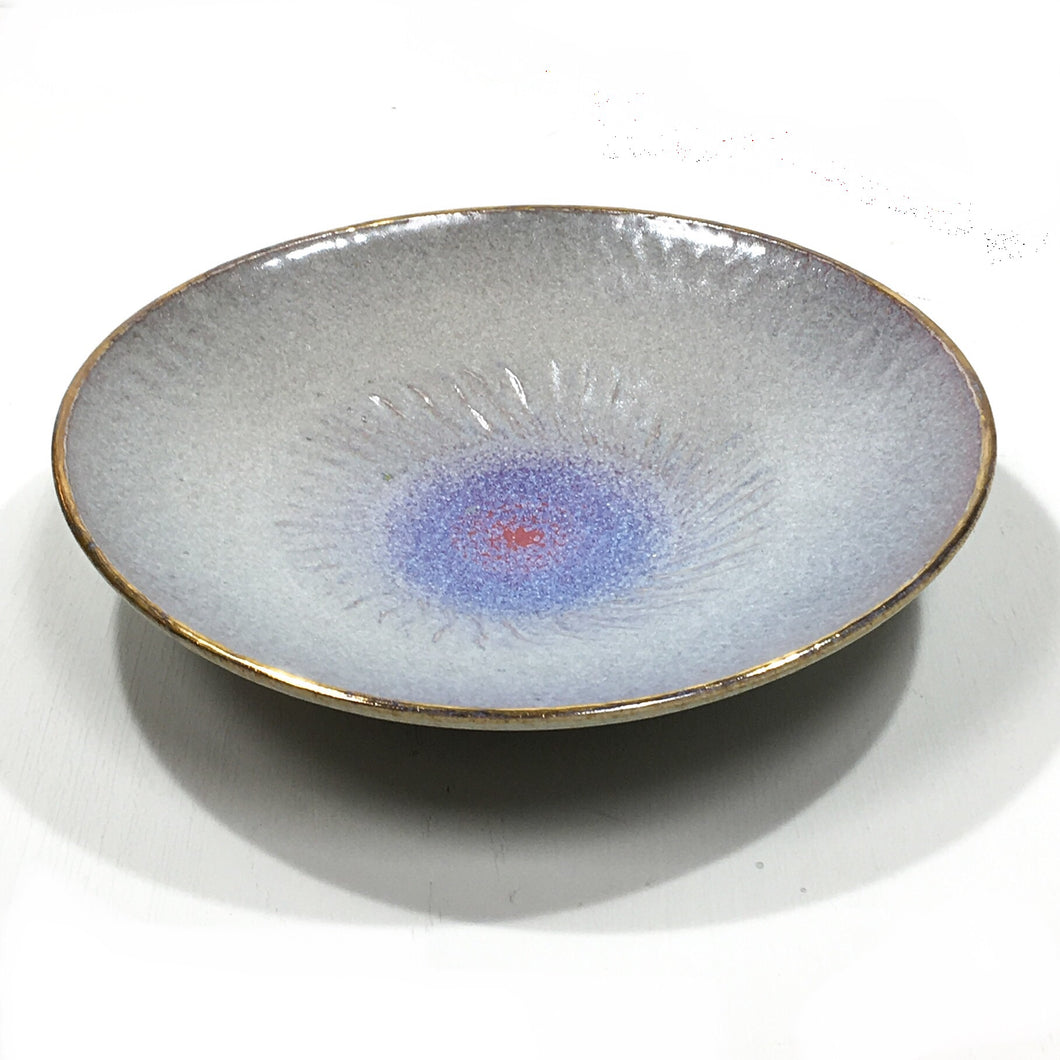 Bowl - gray & blue with gold rim