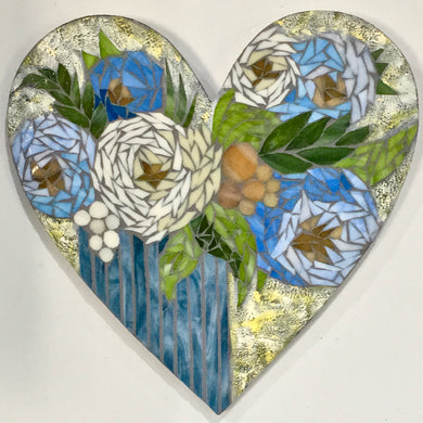 Light Blue and White Floral Heart Mosaic