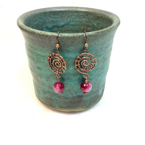 Wrapped Spiral with purple bead Copper Earrings