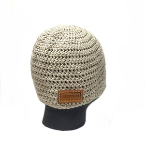 Taupe Sock Hat with Leather Tag