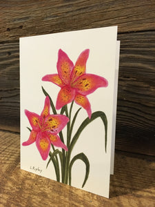 "Asian Lily ""Trogan"" Watercolor Card"