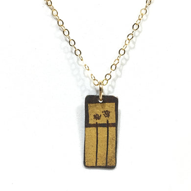 Kumboo Pendant - 2 Dandelions on 2 Rectangles