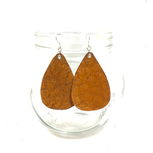 Stamped Orange Teardrop Leather Earrings