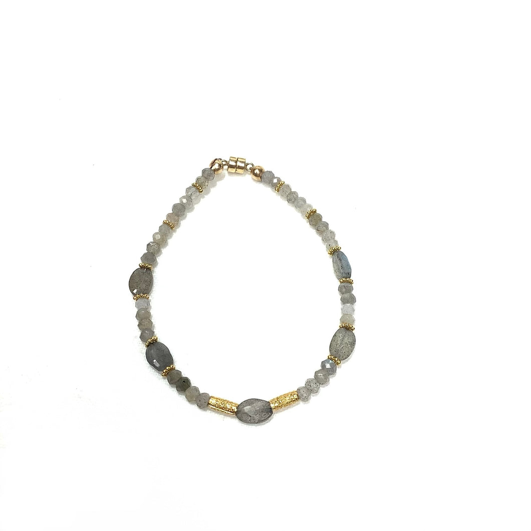 Bracelet - Gold Vermeil, Labradorite and Czech Glass Beads with magnetic clasp